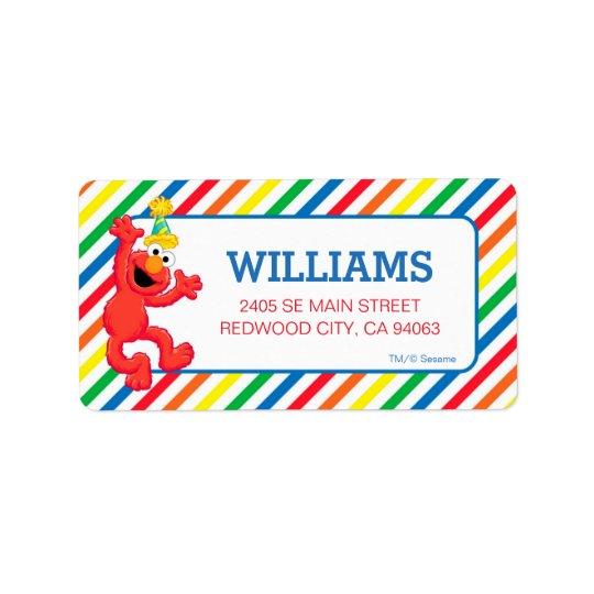 Sesame Street   Elmo - Regenbogen-Geburtstag Adress Aufkleber