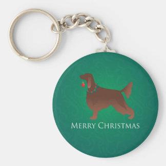 Setter-Hundefrohe Weihnacht-Entwurf Schlüsselanhänger