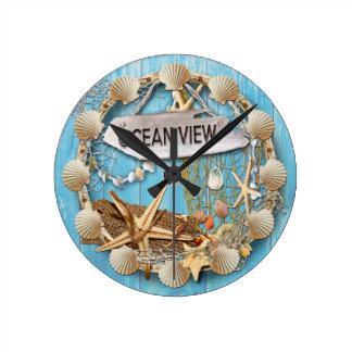 Setzen Sie Hütten-/Strand-Haus-Uhr, Meerblick auf Runde Wanduhr