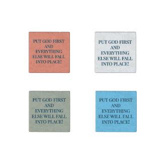 Setzen Sie immer Gott zuerst Stein-Magnet