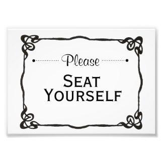 Setzen Sie sich bitte Zeichen Fotodruck