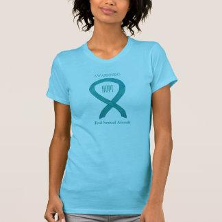 Sexueller Angriffs-aquamarine Bewusstseins-Band-T T-Shirt