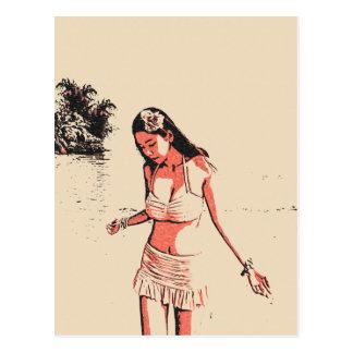 Sexy am Strand, heißes Bikinibaby, sexy hula Postkarte