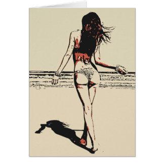 Sexy am Strand, künstlerische Akte des heißen Karte