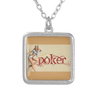 Sexy Pokerfrau Versilberte Kette