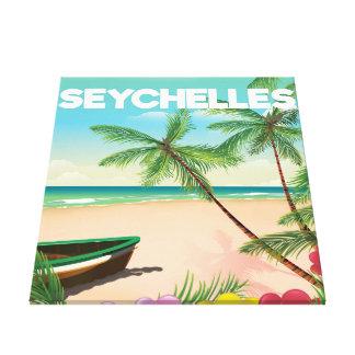 Seychellen-Strandreiseplakat Leinwanddruck