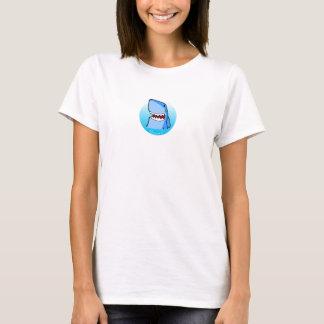 Shaaark im weißen T - Shirt einer Kreisfrau