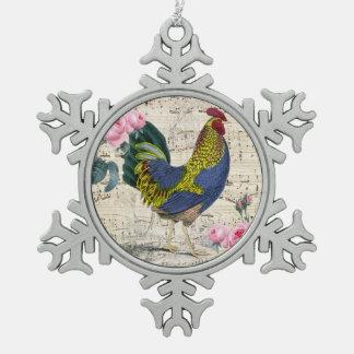 Shabby Chic-Hahn Schneeflocken Zinn-Ornament