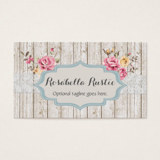 Shabby Chic-Holz u. Spitze - Rosabella rustikal Visitenkarte