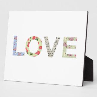 Shabby Chic-Liebe-Typografie - Weiß Fotoplatte