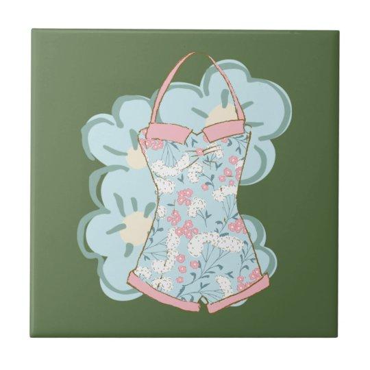 Shabby Chic-Retro Blumenbadeanzug auf Kohl Kleine Quadratische Fliese