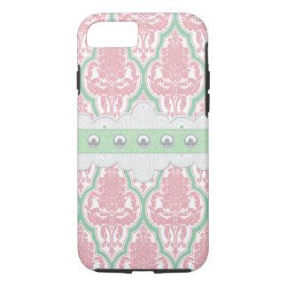 Shabby Chic-rosa u. aquamariner Damast iPhone 8/7 Hülle