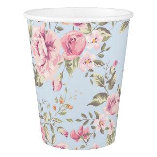 Shabby Chic-rosa und blaue Blumenpapierschalen Pappbecher