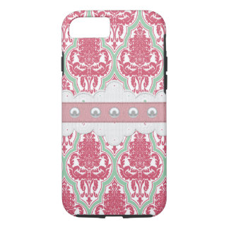 Shabby Chic-Rose u. aquamariner Damast iPhone 8/7 Hülle