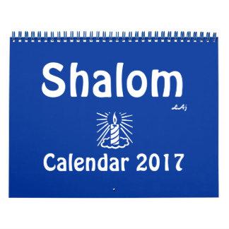 Shalom 2017 Seite des Blau-helle Kerzen-Kalender-2 Kalender