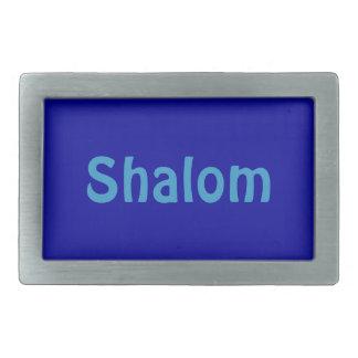 Shalom blaue rechteckige Gürtelschnalle
