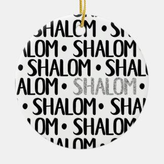 Shalom im Schwarzen u. im Silber Keramik Ornament