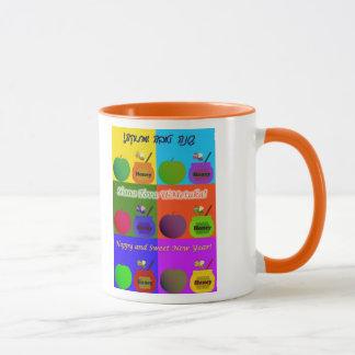 Shana Tova - Pop-Kunst-Art Apples, des Honigs u. Tasse