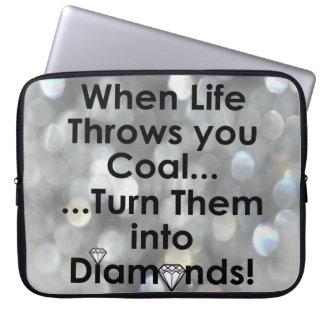 Sharnias Kohlen-Diamant-Zitat-Laptop-Hülse Laptopschutzhülle