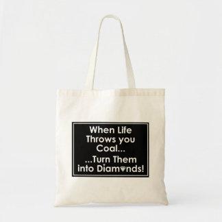 Sharnias Kohlen-Diamant-Zitat-Taschen (Schwarzes) Tragetasche