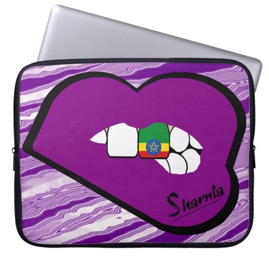 Sharnias Lippenäthiopien-Laptop-Hülsen-lila Lippen Laptopschutzhülle