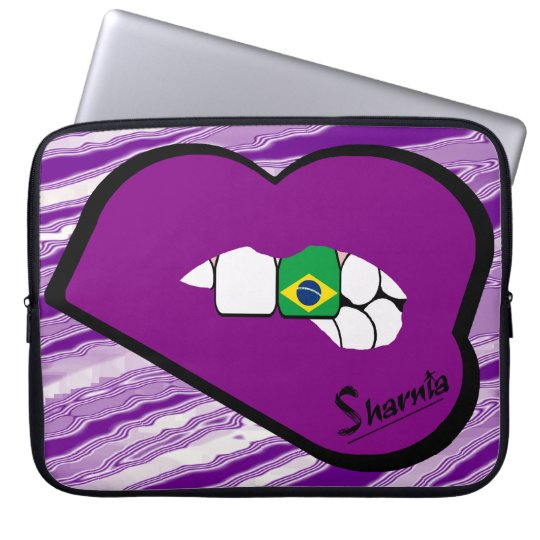 Sharnias Lippenbrasilien-Laptop-Hülse (lila Laptop Sleeve Schutzhüllen