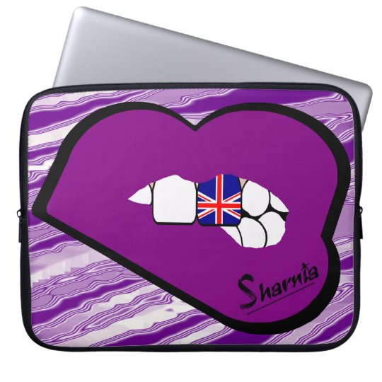 Sharnias Lippenbritische Laptop-Hülse (lila Laptop Sleeve