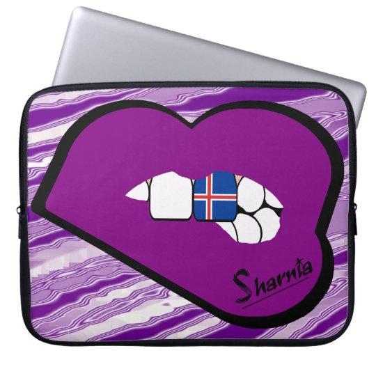 Sharnias Lippenisland-Laptop-Hülse (lila Lippen) Laptopschutzhülle