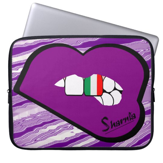 Sharnias Lippenitalien-Laptop-Hülse (lila Lippen) Laptop Sleeve