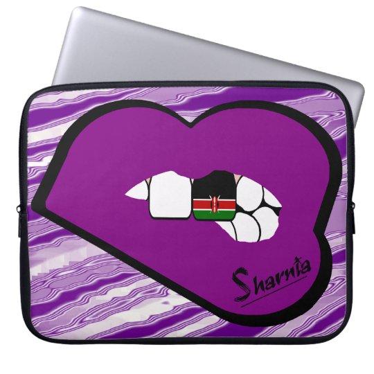 Sharnias Lippenkenia-Laptop-Hülse (lila Lippen) Laptopschutzhülle