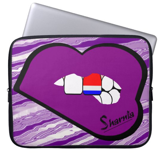 Sharnias Lippenniederländische Laptop-Hülsen-lila Laptop Sleeve