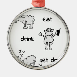 sheeps life 2 rundes silberfarbenes ornament