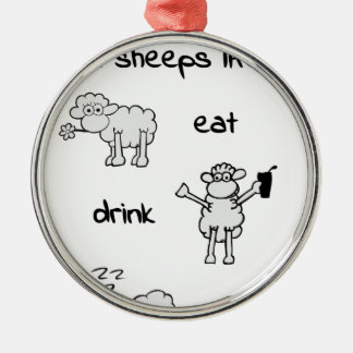 sheeps life monday rundes silberfarbenes ornament