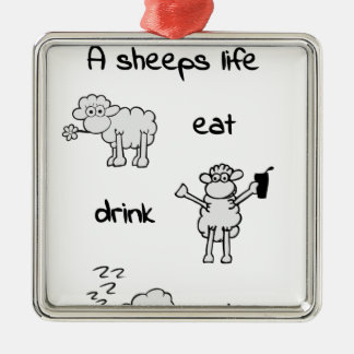 sheeps life monday silbernes ornament