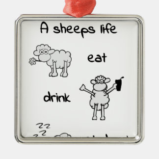 sheeps life sunday silbernes ornament
