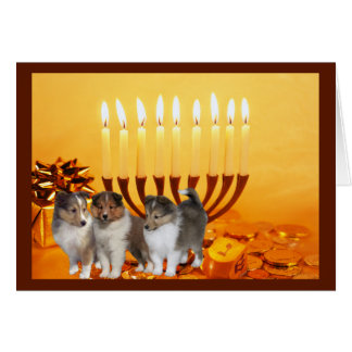 Sheltie Chanukah Karte Menorah