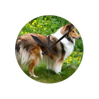 Sheltie die Shetlandinseln Schäferhund-Malerei Runde Wanduhr
