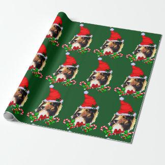 Sheltie Sankt Weihnachten Geschenkpapier