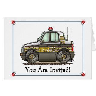 Sheriff-Auto-Patrouillen-Auto-Party Einladung