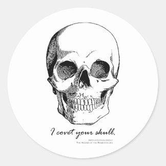 Sherlock-Zitat begehre ich Ihren Schädel-gotischen Runder Aufkleber