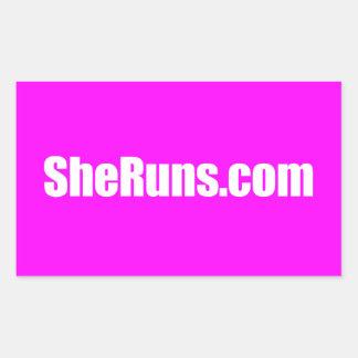 SheRuns.com-Rechteck-glatter Aufkleber