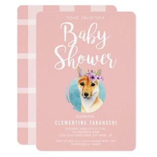 Shiba Inu mit Baby-Duschen-Rosa der Karte