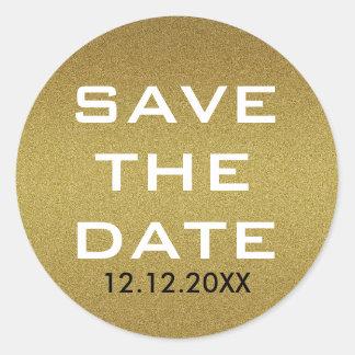 Shimmery GoldGlitzer Save the Date Runder Aufkleber