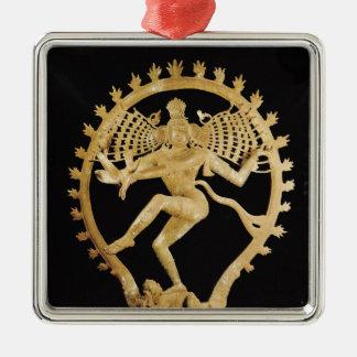 Shiva Nataraja Quadratisches Silberfarbenes Ornament