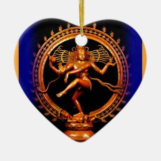 Shiva Tanzen auf Blau durch Sharles Keramik Herz-Ornament