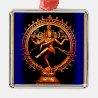 Shiva Tanzen auf Blau durch Sharles Quadratisches Silberfarbenes Ornament
