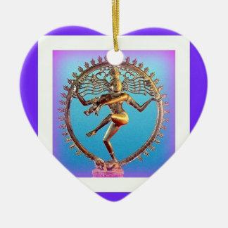 Shiva Tanzen im violetten Mystizismus durch Keramik Herz-Ornament