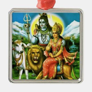 Shiva u. Parvati Verzierung Quadratisches Silberfarbenes Ornament