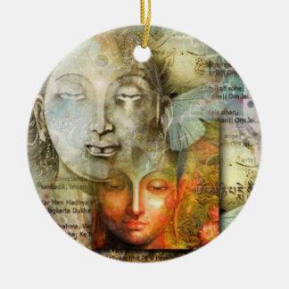 Shiva und Buddha Rundes Keramik Ornament