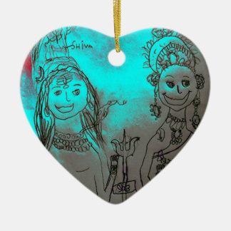 Shiva und Parvati Verzierung Keramik Herz-Ornament